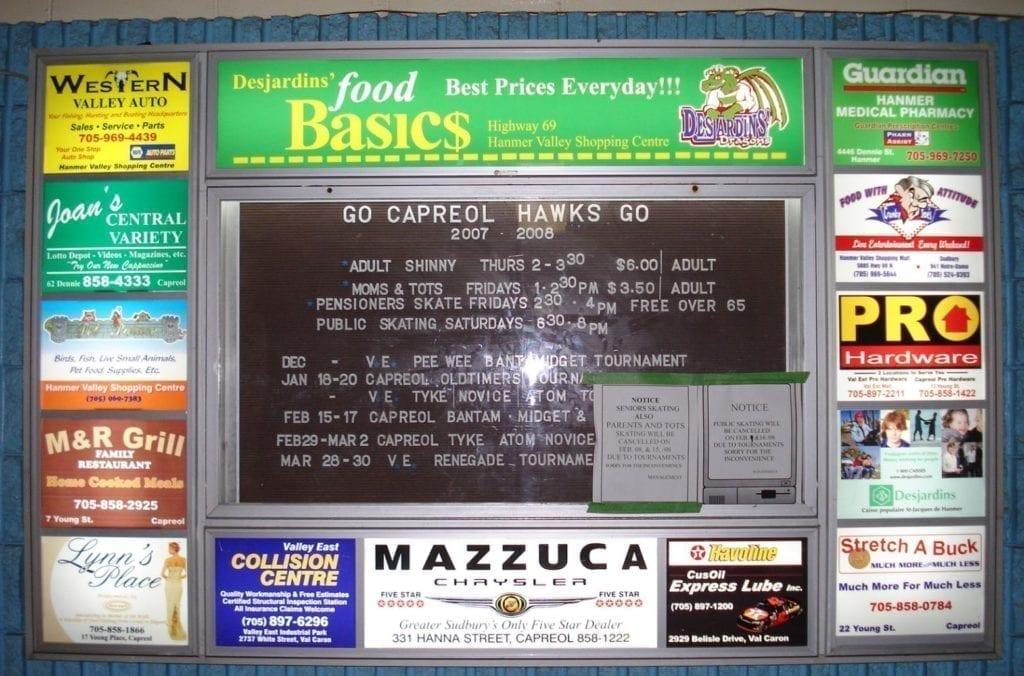 Arena Bulltin Board Sign by Brooklin Bulletin